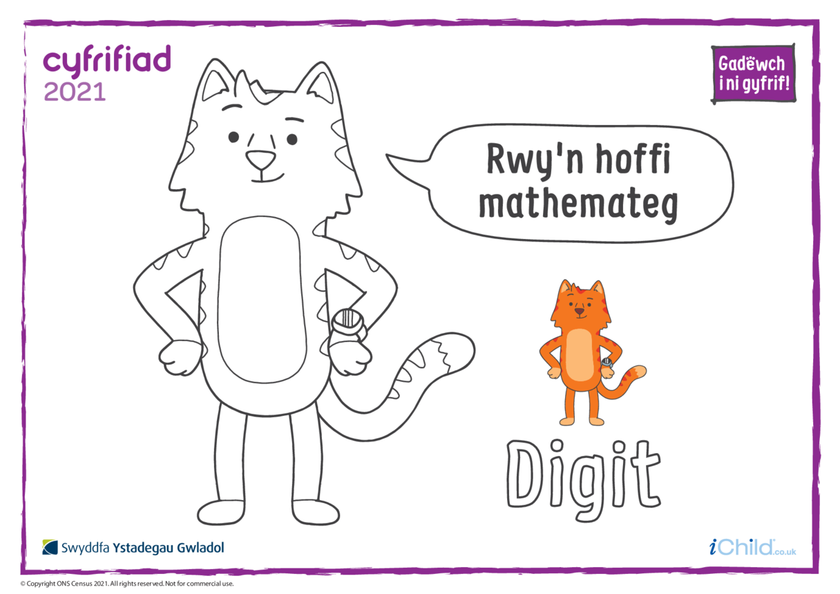 Colour in Counter Cat Digit (Welsh)