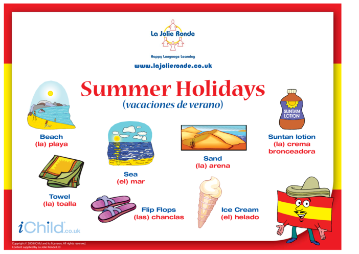 Thumbnail image for the Summer Holidays in Spanish activity.