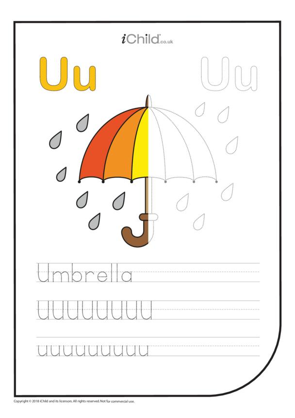 U: Write the Letter U for Umbrella