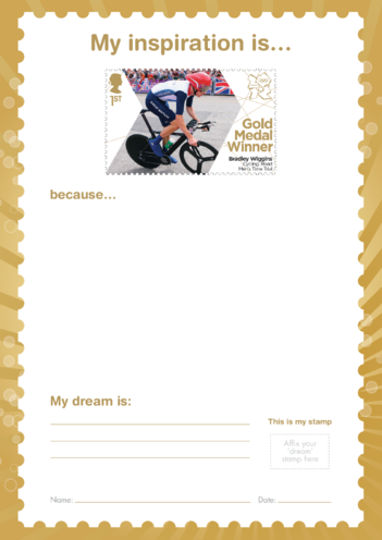 Thumbnail image for the My Inspiration Is- Bradley Wiggins- Gold Medal Winner Stamp Template activity.