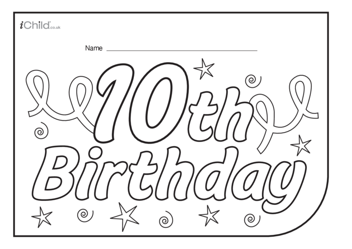 Thumbnail image for the Birthday Party Place Mats for a 10 year old's 10th birthday activity.