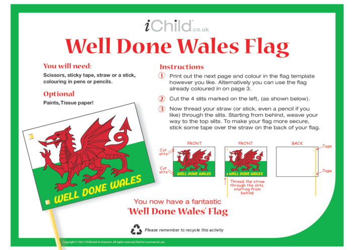 Thumbnail image for the Well Done Wales Flag activity.