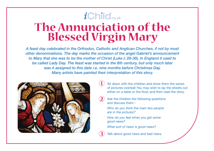 Thumbnail image for the The Annunciation of Mary Religious Festival Story activity.