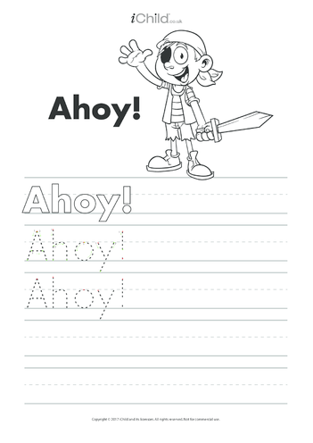 Thumbnail image for the Ahoy! Handwriting Practice Sheet activity.