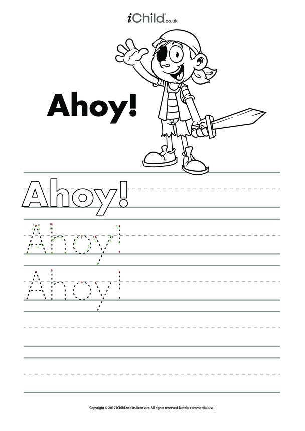 Ahoy! Handwriting Practice Sheet