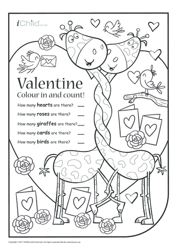 Thumbnail image for the Valentine Colour in & Count activity.