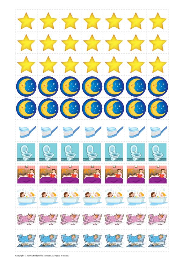 Bedtime Reward Chart Sticker Sheet