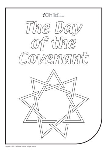 Thumbnail image for the Day of the Covenant 9-Pointed Star Colouring in Picture activity.