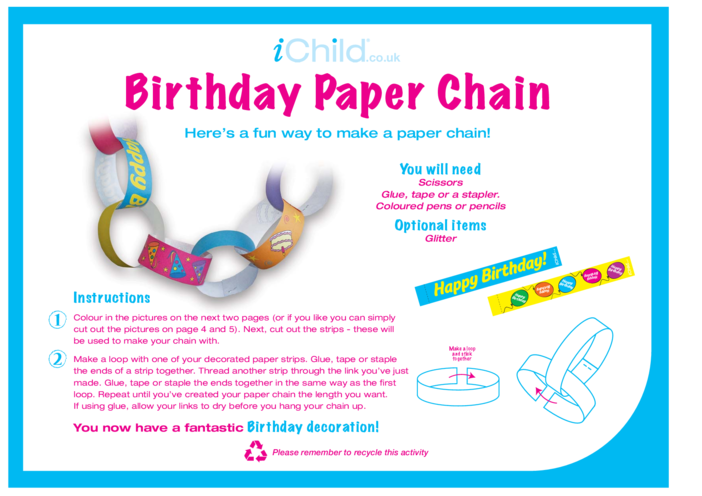 Thumbnail image for the Birthday Party Decoration Paper Chain activity.