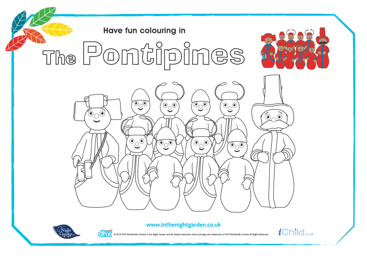 The Pontipines Colouring in Picture