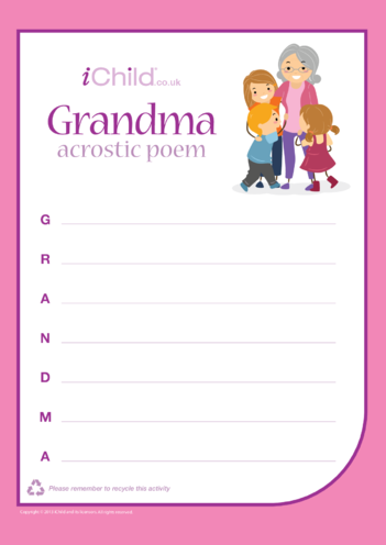 Thumbnail image for the Grandma Acrostic Poem activity.