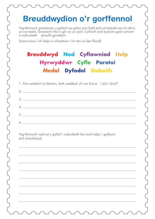 Welsh Language Primary 2) I Did it My Way- Dreams From The Past Q Template