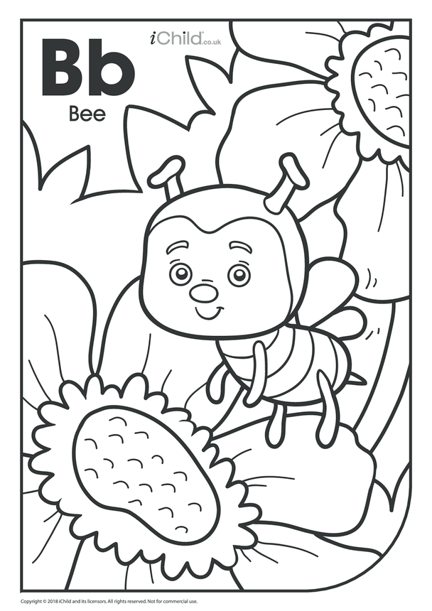 B is for Bee Colouring in Picture