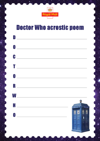 Thumbnail image for the Primary 1) Doctor Who Acrostic Poem activity.