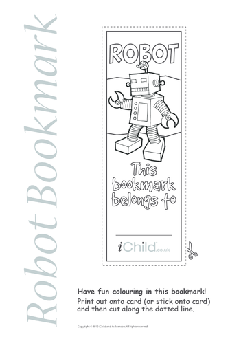 Thumbnail image for the Robot Bookmark activity.