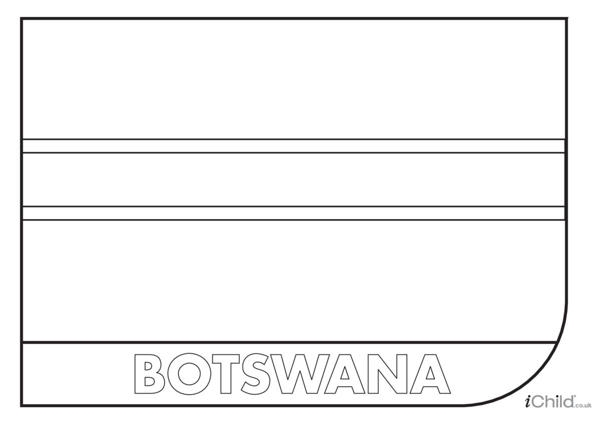 Botswana Flag Colouring in Picture (flag of Botswana)