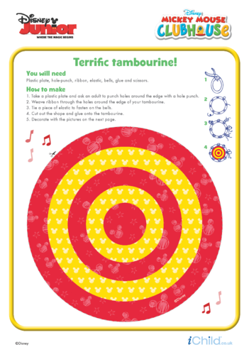 Thumbnail image for the Mickey Mouse Clubhouse: Tambourine Craft- Disney Junior activity.