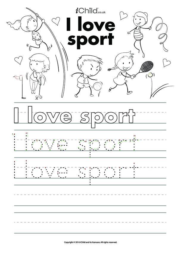 I Love Sport - Handwriting Practice Sheet
