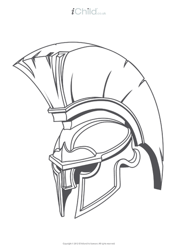 Thumbnail image for the Roman Soldier Helmet Colouring in Picture activity.