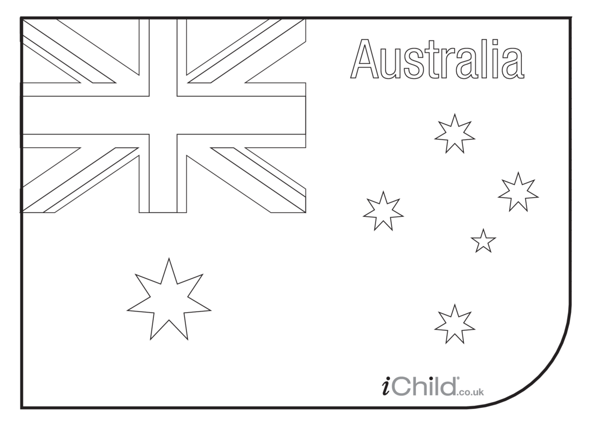 Australian Flag Colouring in Picture (flag of Australia)