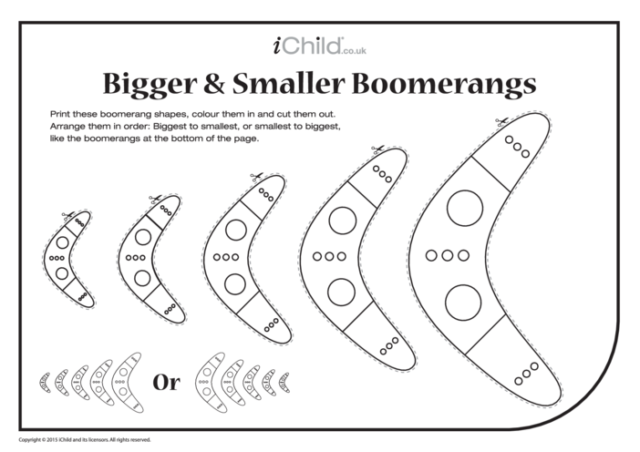 Thumbnail image for the Bigger & Smaller Boomerangs activity.