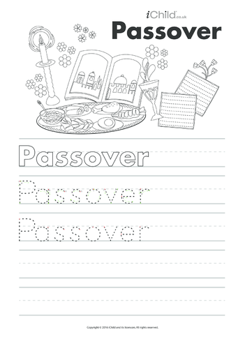 Thumbnail image for the Passover Handwriting Practice Sheet activity.