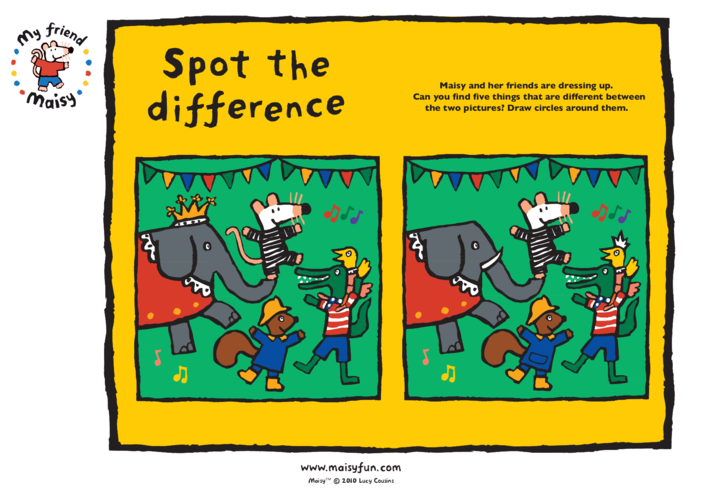 Thumbnail image for the Maisy Party Kit: Spot the Difference activity.