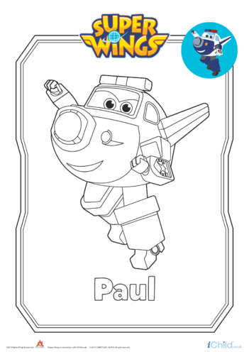 Thumbnail image for the Super Wings: Paul Colouring in Picture  (Robot Form) activity.