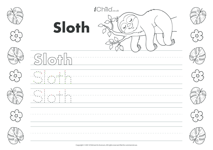 Thumbnail image for the Sloth Handwriting Practice Sheet activity.