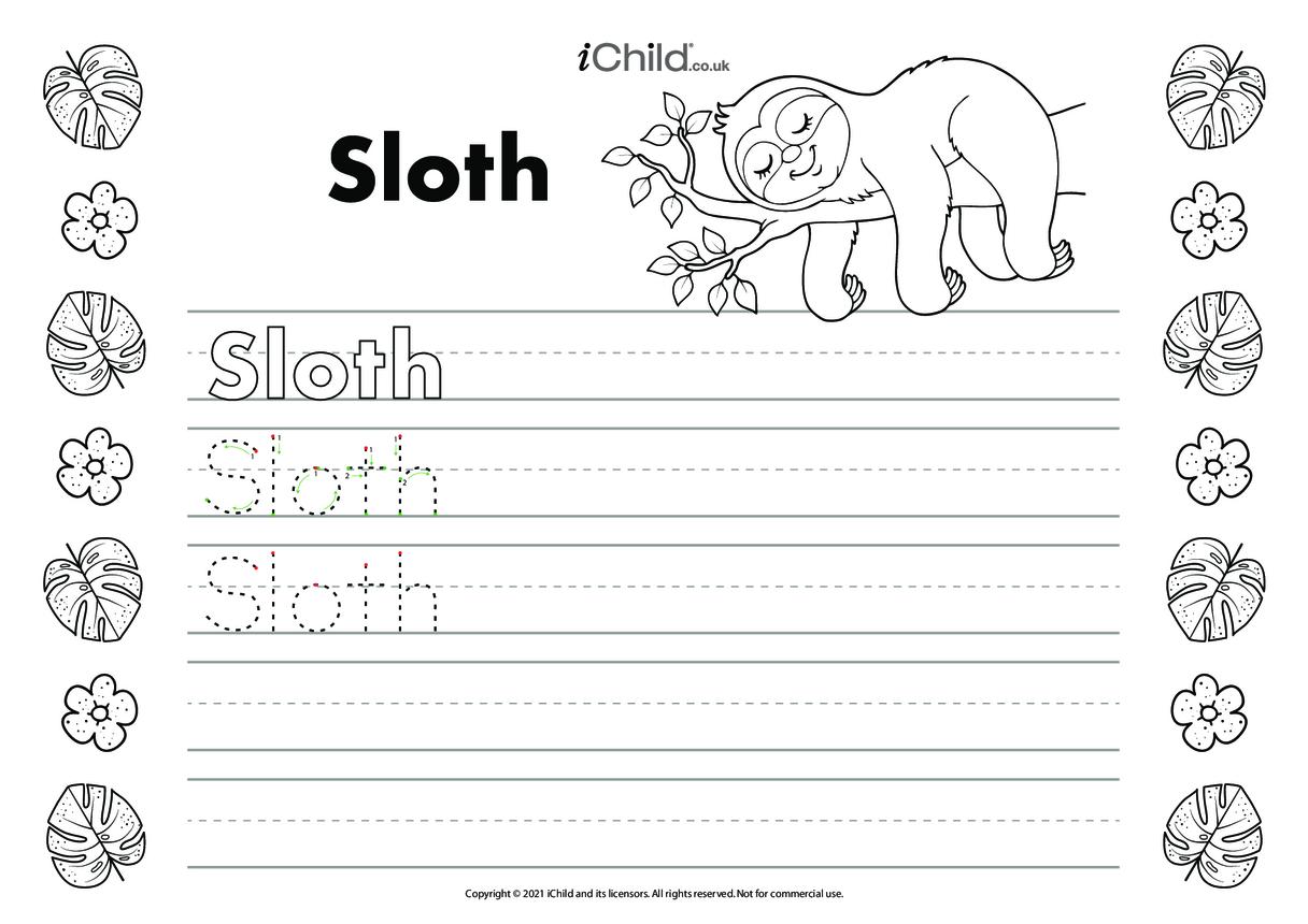 Sloth Handwriting Practice Sheet