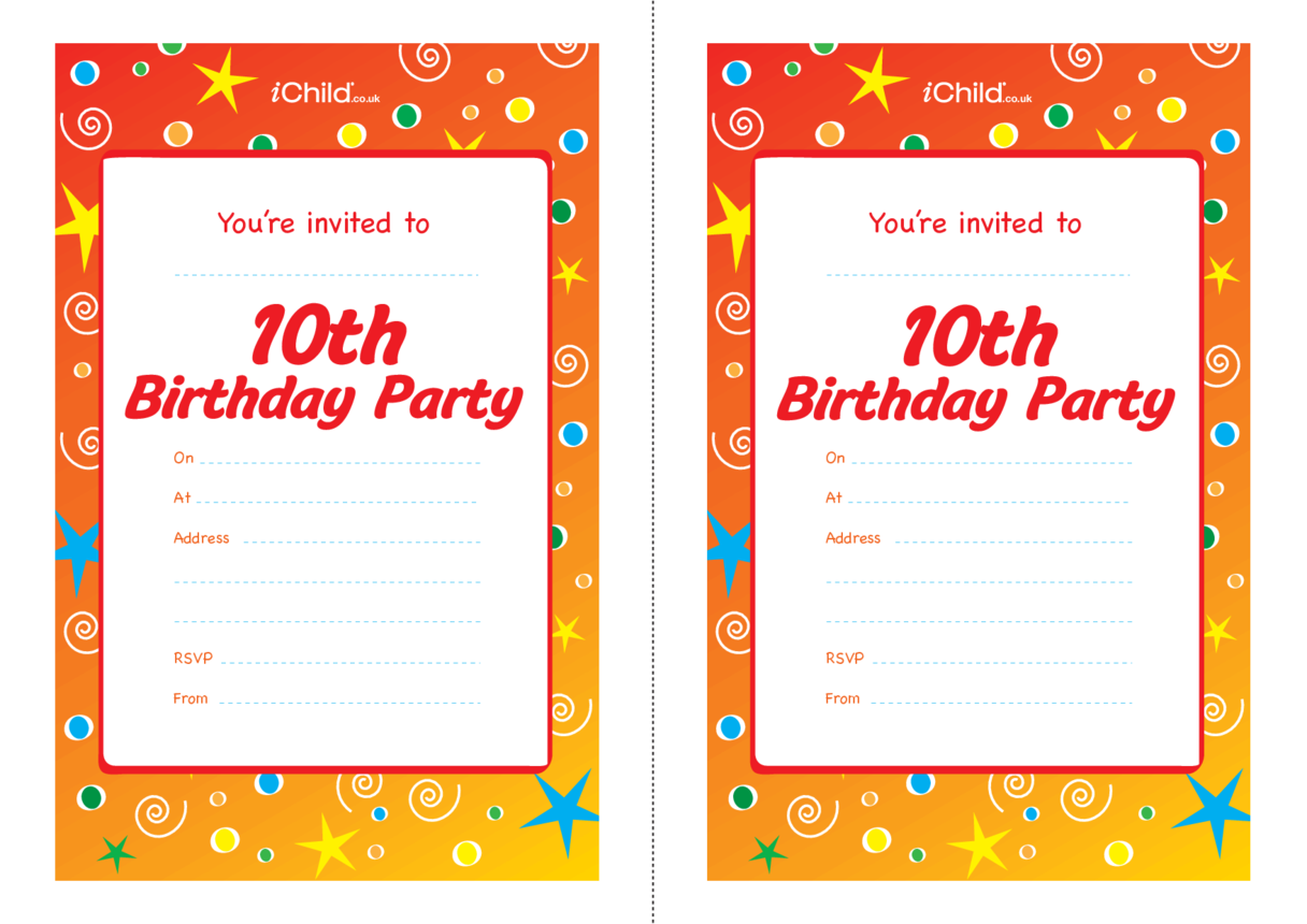 Birthday Party Invitation templates for a 10 year old 10th birthday