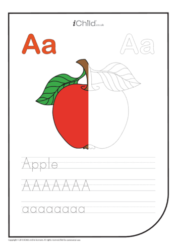 Thumbnail image for the A: Write the letter A for Apple activity.