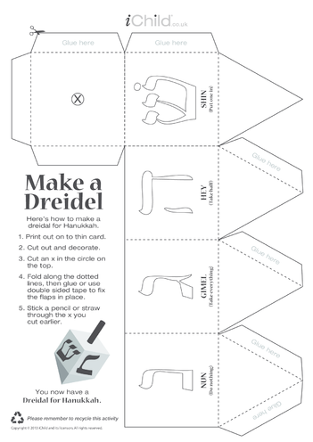 Thumbnail image for the Dreidel Craft Game activity.