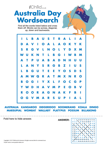 Thumbnail image for the Australia Day Wordsearch activity.