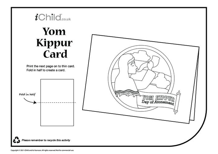 Thumbnail image for the Yom Kippur Card (black & white) activity.