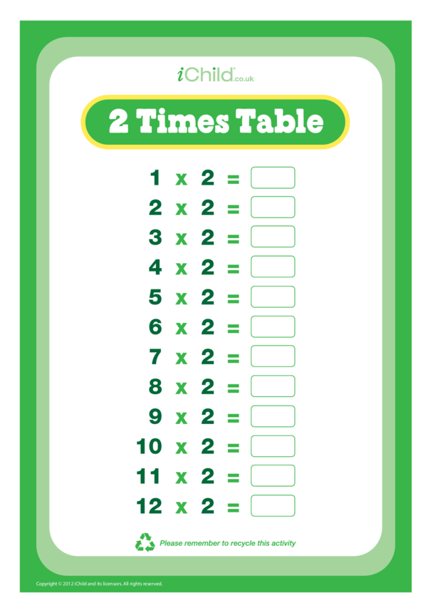 (02) Two Times Table Question Sheet