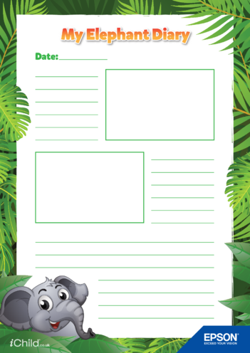Thumbnail image for the 2) Epson Elephant Diary Template- 2 Smaller Photo Spaces activity.