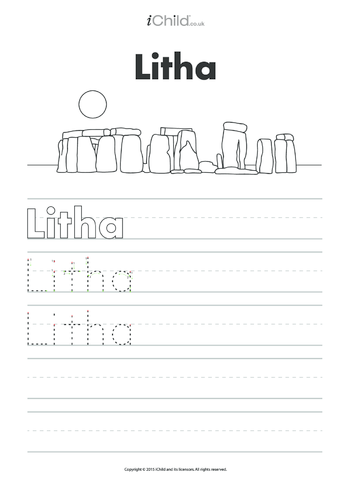Thumbnail image for the Litha Handwriting Practice Sheet activity.