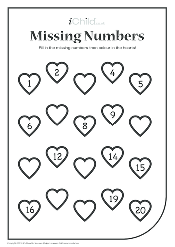 Thumbnail image for the Missing Numbers Hearts activity.