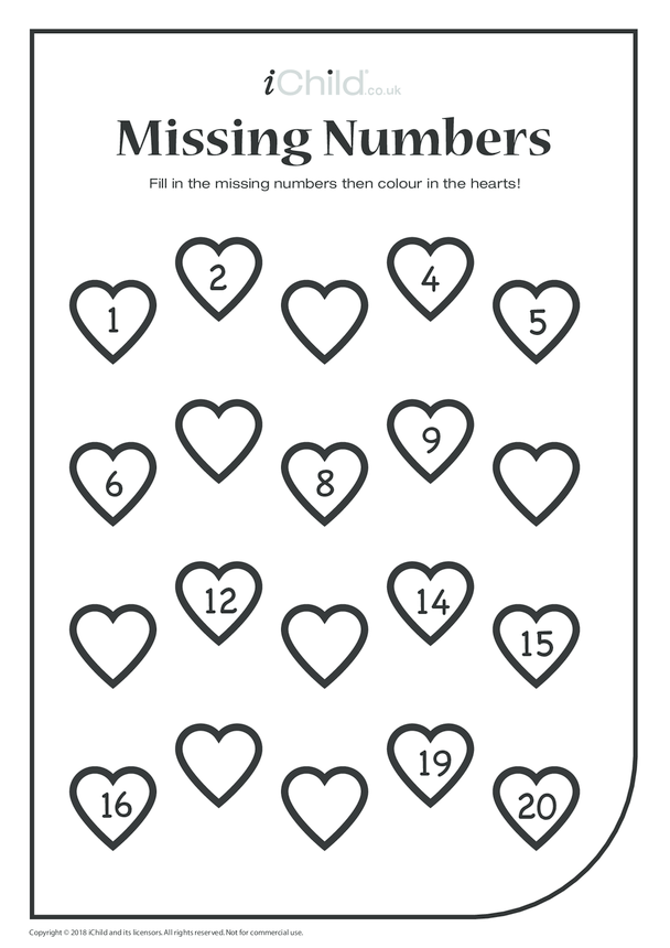 Missing Numbers Hearts