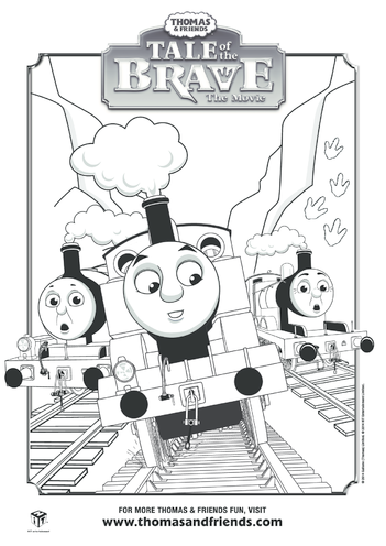 Thumbnail image for the Tale of the Brave Thomas, Percy & James Colouring in Picture (Thomas & Friends) activity.