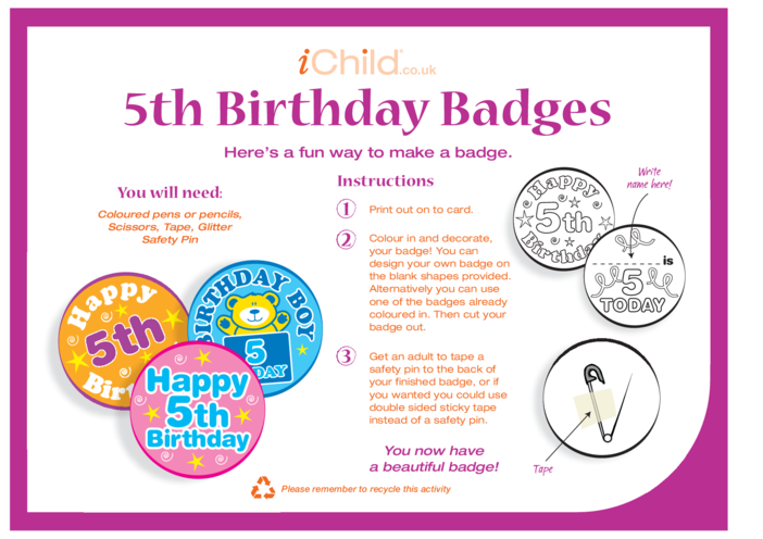 Thumbnail image for the Birthday Badges designs template for 5 year old 5th birthday activity.