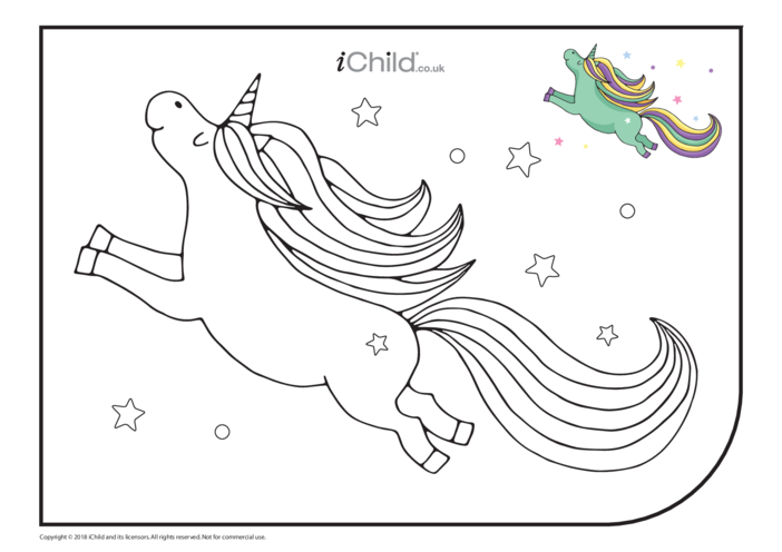 Thumbnail image for the Flying Unicorn Colouring in Picture activity.