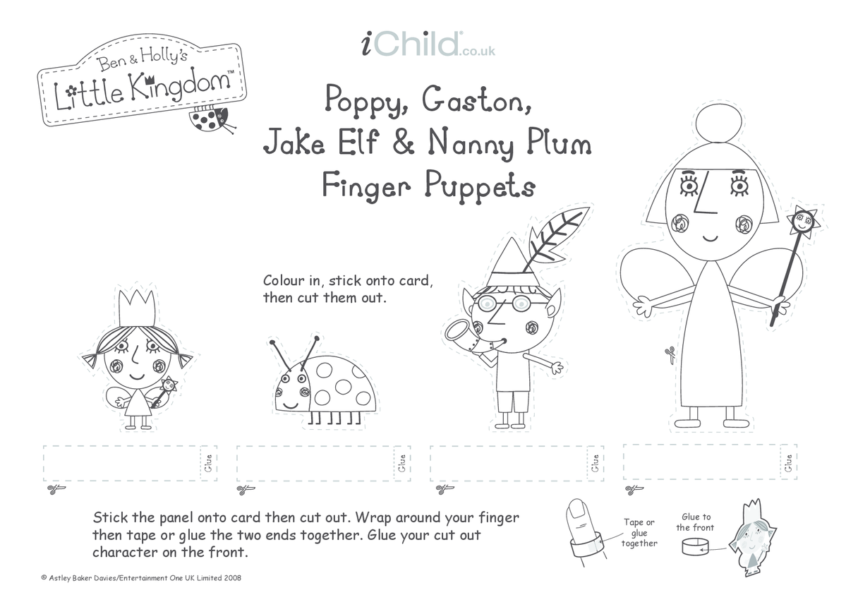 Finger Puppets: Poppy, Gaston, Jake Elf & Nanny Plum- Black and White