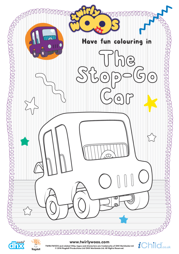 The Stop-Go Car Colouring in Picture