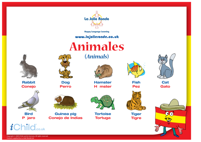 Thumbnail image for the Animals in Spanish activity.