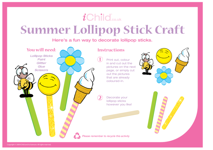 Thumbnail image for the Lollipop Stick Craft - Summer activity.