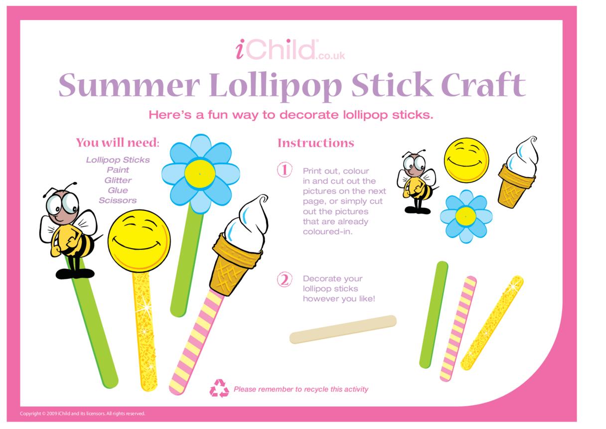 Lollipop Stick Craft - Summer
