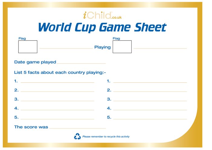 Thumbnail image for the Rugby World Cup Game Score Chart activity.