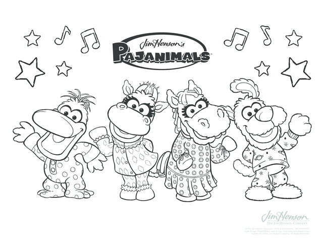 Thumbnail image for the Pajaminals Colouring in Picture activity.